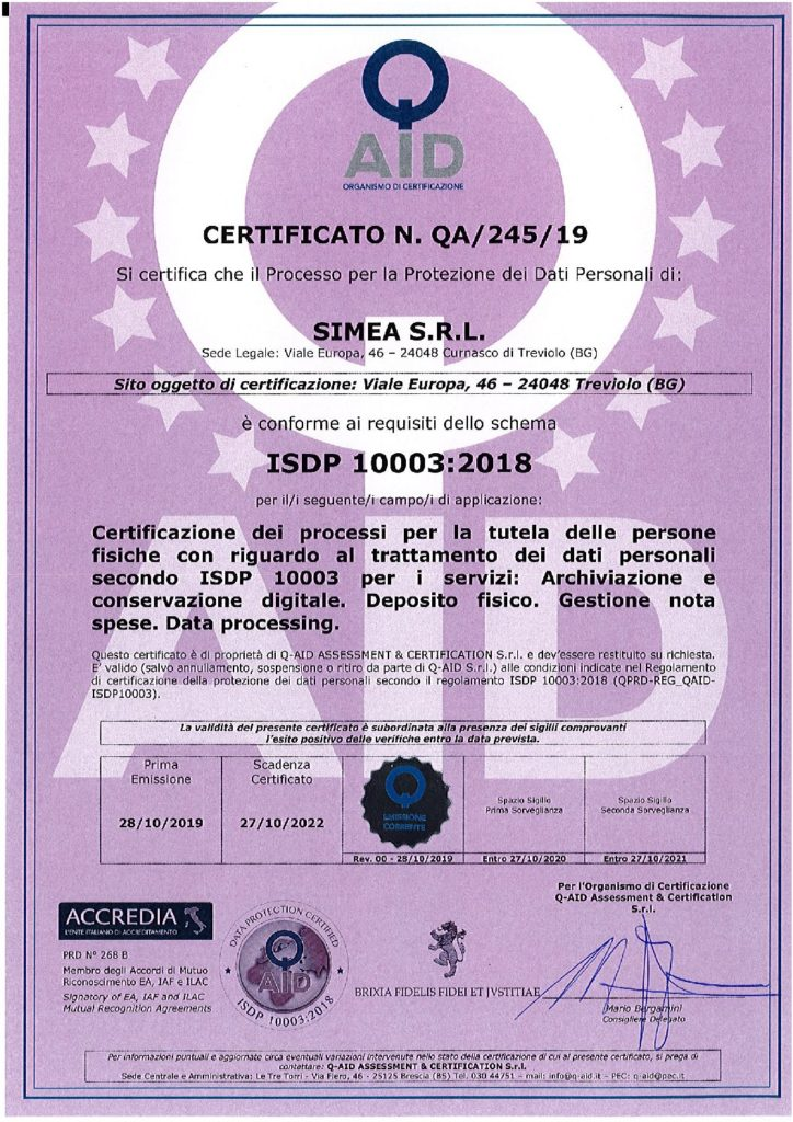 Certificato ISDP 10003:2018